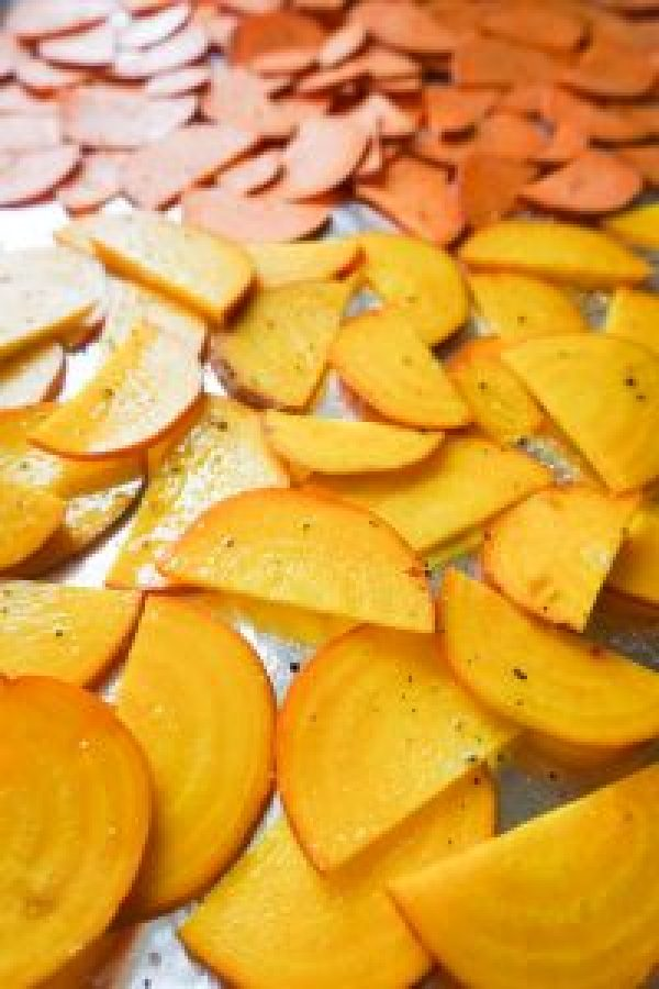 golden beets sweet potatoes thinly sliced