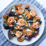 sweet potato beet shrimp salad feta blue napkin