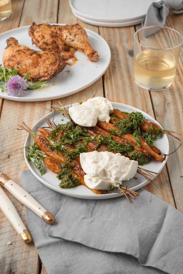 roasted carrots with carrot greens pesto