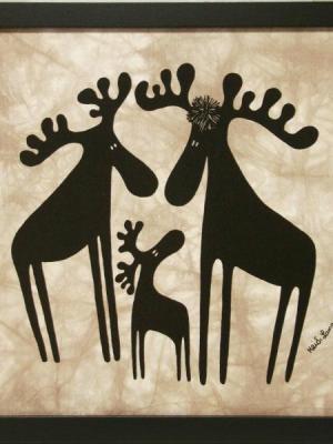 Batik, Moose Family - Framed