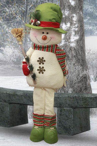 Yule Snowman with Broom