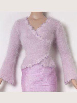 Lilac Beaded Angora Wrap Sweater