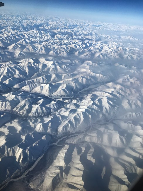 flying over the arctic circle: a white wonderland