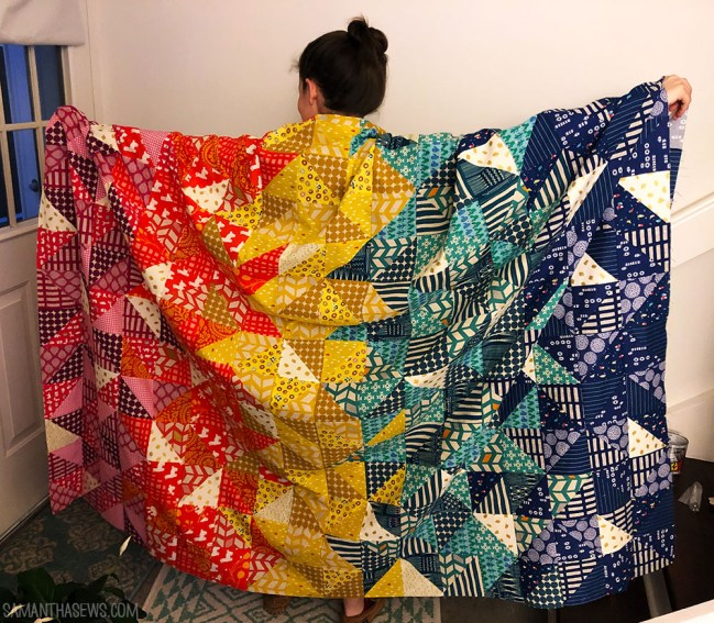 QUILTID-19: jewel-toned triangle quilt
