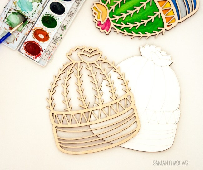 Cactus Coloring Kit, wood outline - SamanthaSews