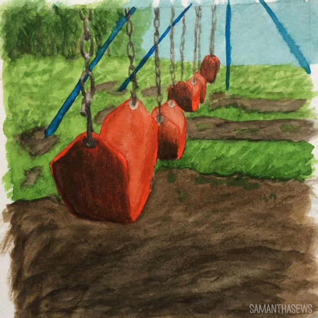 Watercolor swingset