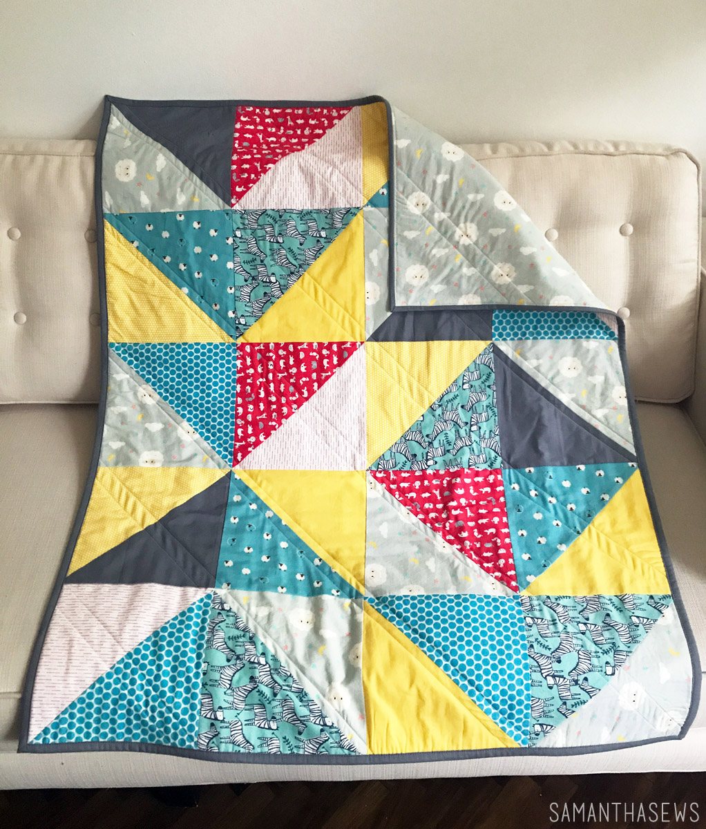 primary colors triangle baby quilt