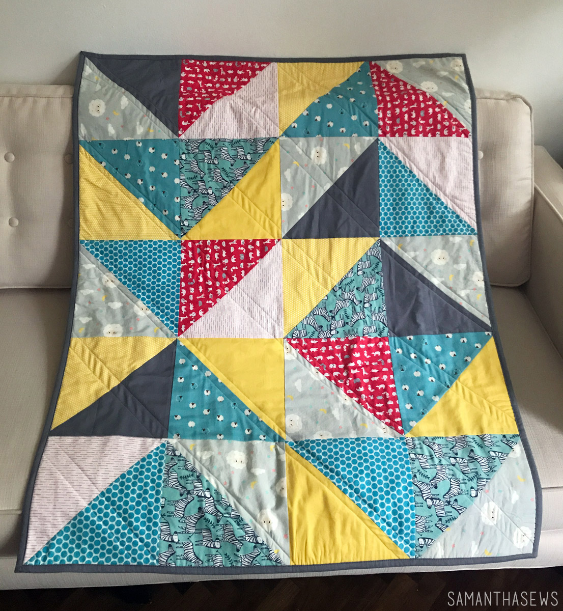 primary colors HST baby quilt