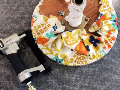 recover the seat on a vanity chair