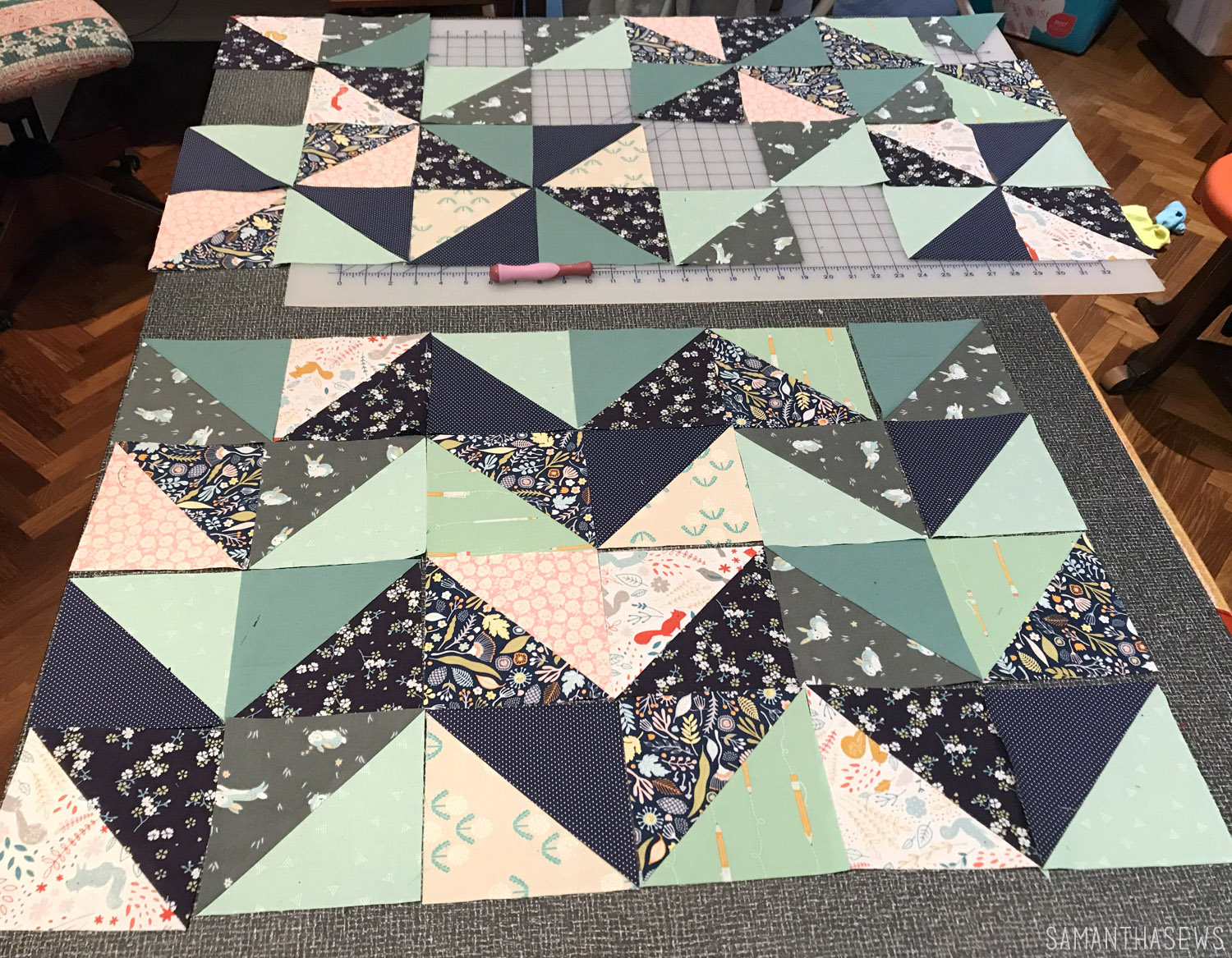 navy and mint triangle baby quilt block layouts