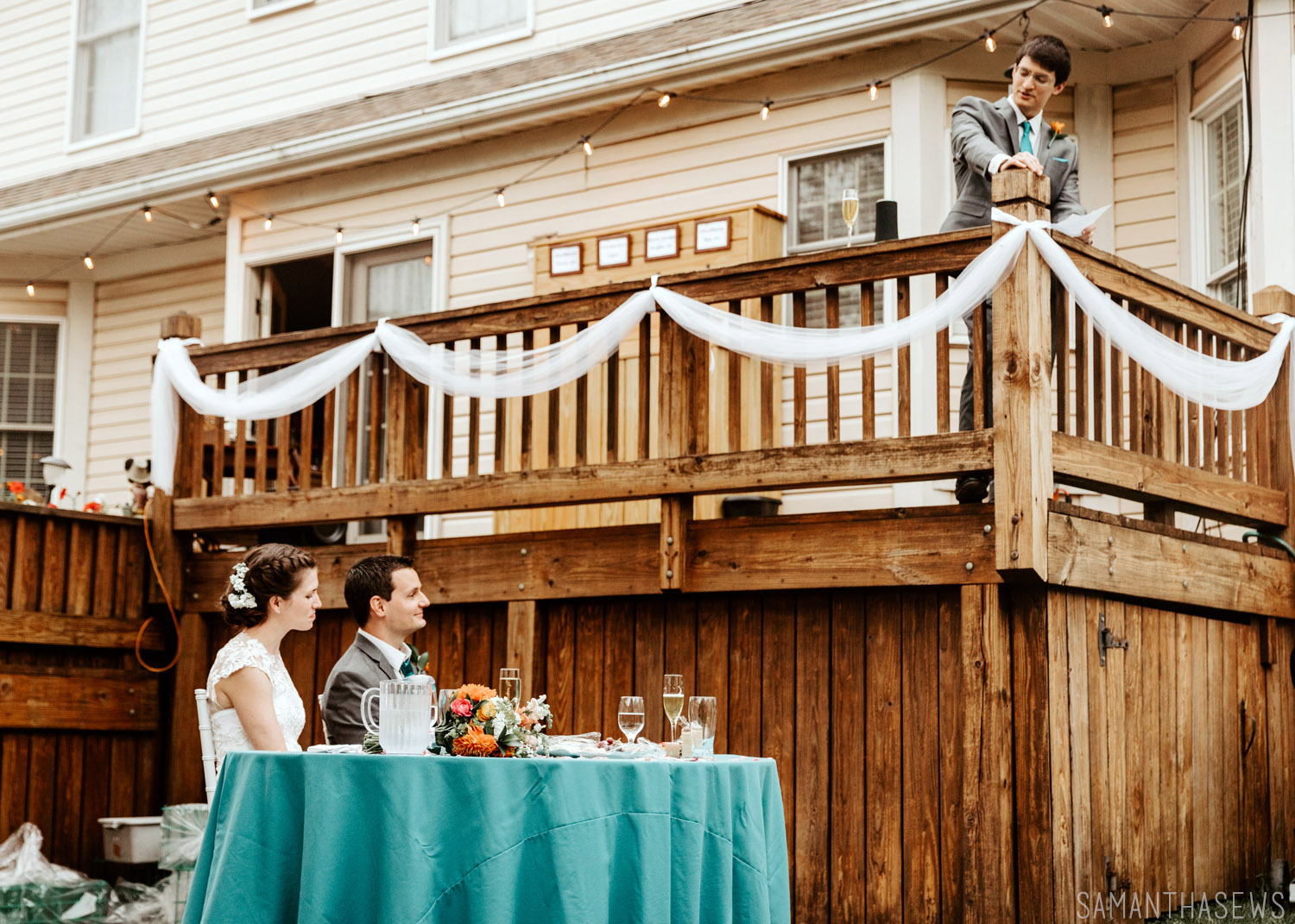 DIY backyard wedding on the deck