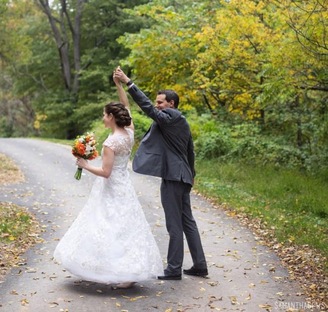 twirling in a handmade lace wedding dress