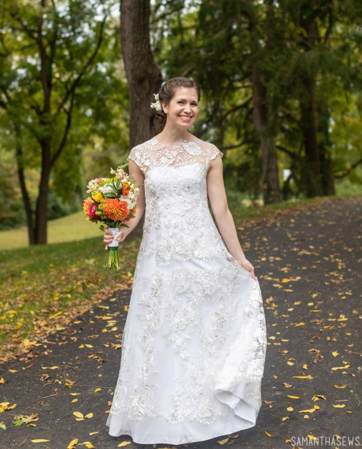 handmade wedding dress sewn with lace fabric