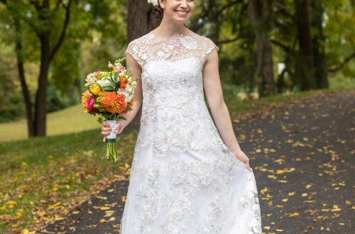 handmade wedding dress sewn with lace fabric