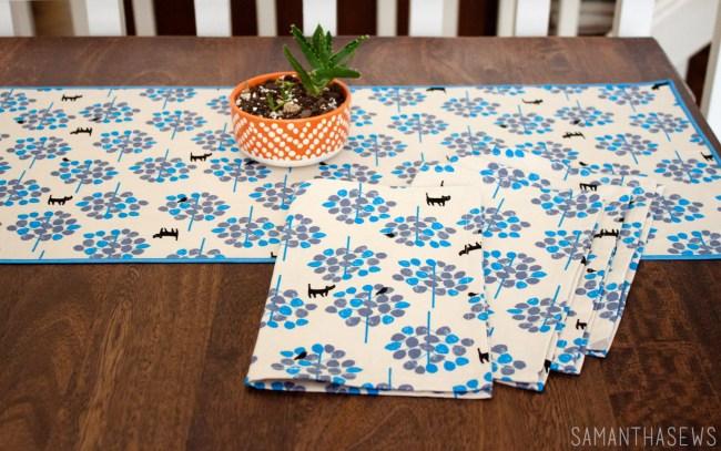 handmade cloth napkins using japanese cat fabric from lecien