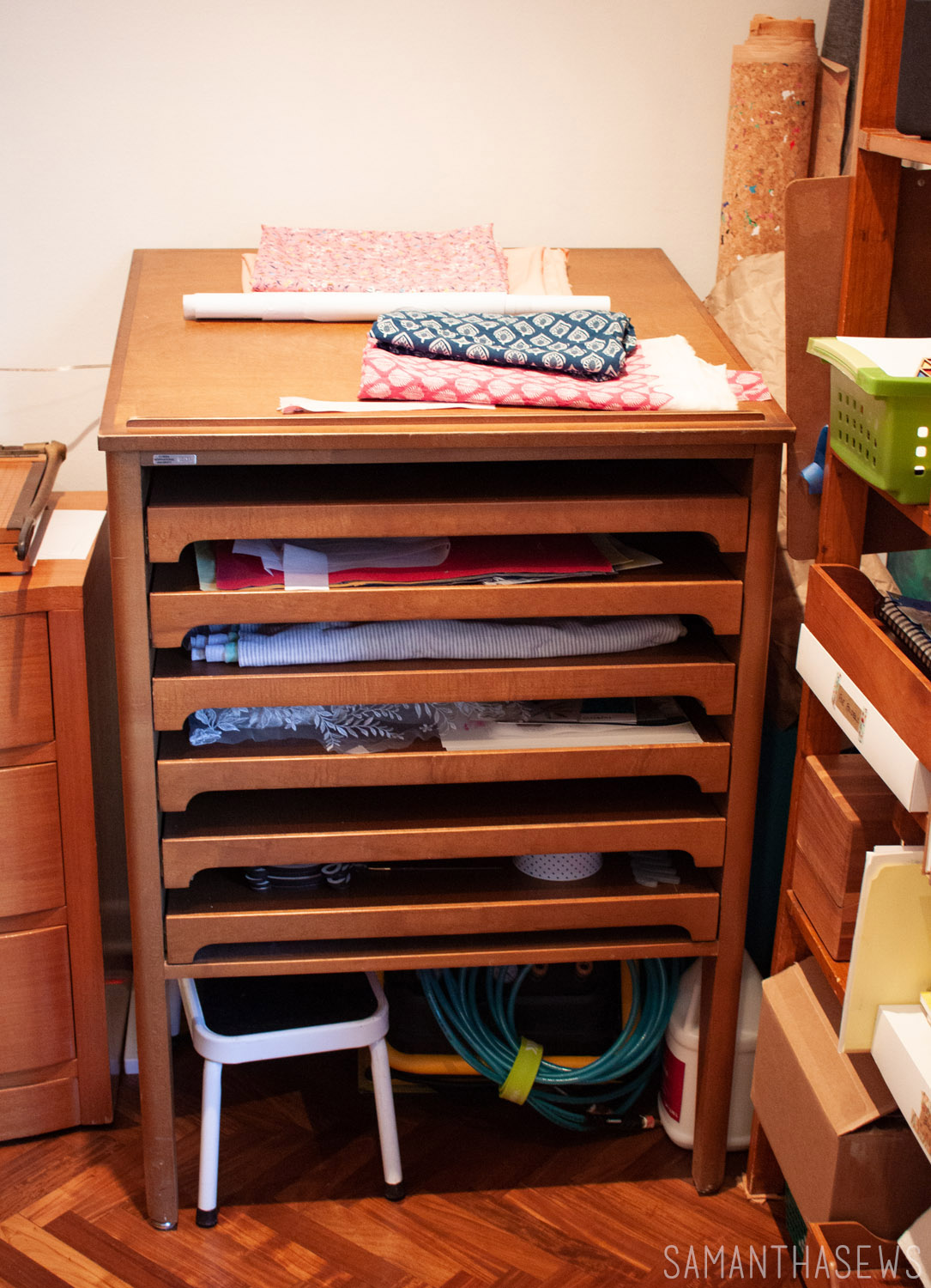 sewing room project storage