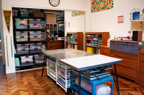 sewing room tour: sewing room closet organization
