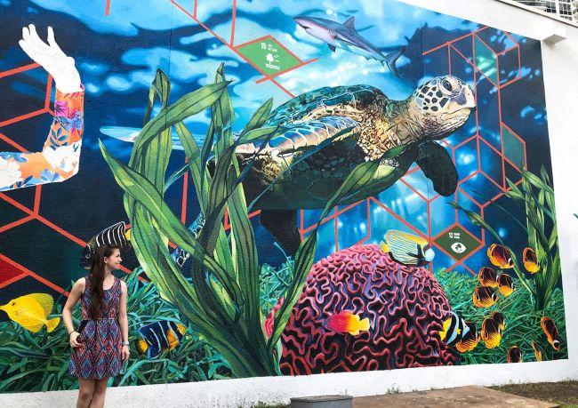 black ikat print dress with sea turtle mural