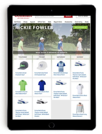 Rickie Fowler Masters scripting on Golfsmith