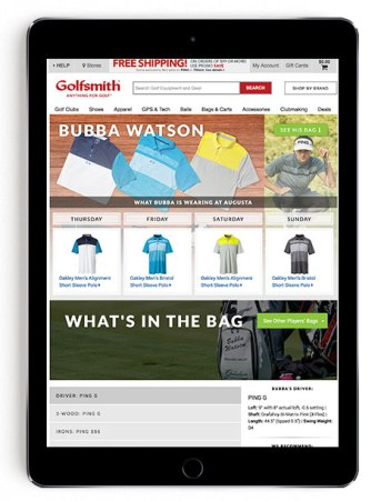 Bubba Watson Masters scripting on Golfsmith