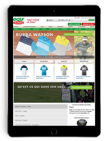 Bubba Watson Masters scripting on Golf Town in French