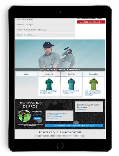 Rory McIlroy PGA Tournament scripting on Golf Town in French