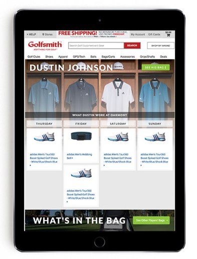 Dustin Johnson US Open scripting on Golfsmith