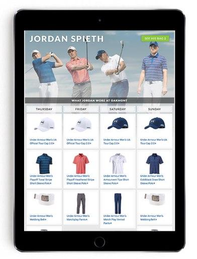 Jordan Spieth US Open scripting on Golfsmith