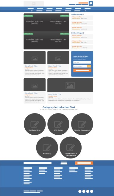 HostGator Blog Home PageFinal Wireframe