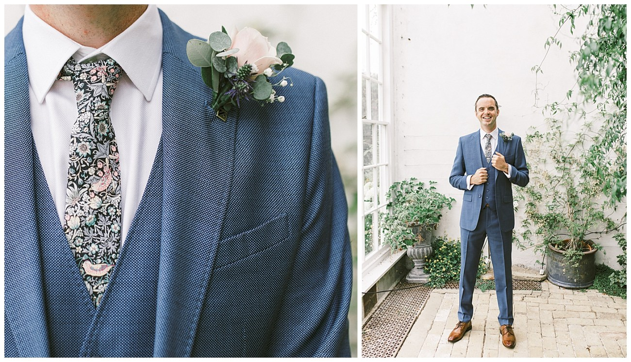 Groom Navy Blue Suit - Menswear - St Clere Estate - Kent England UK Garden Wedding