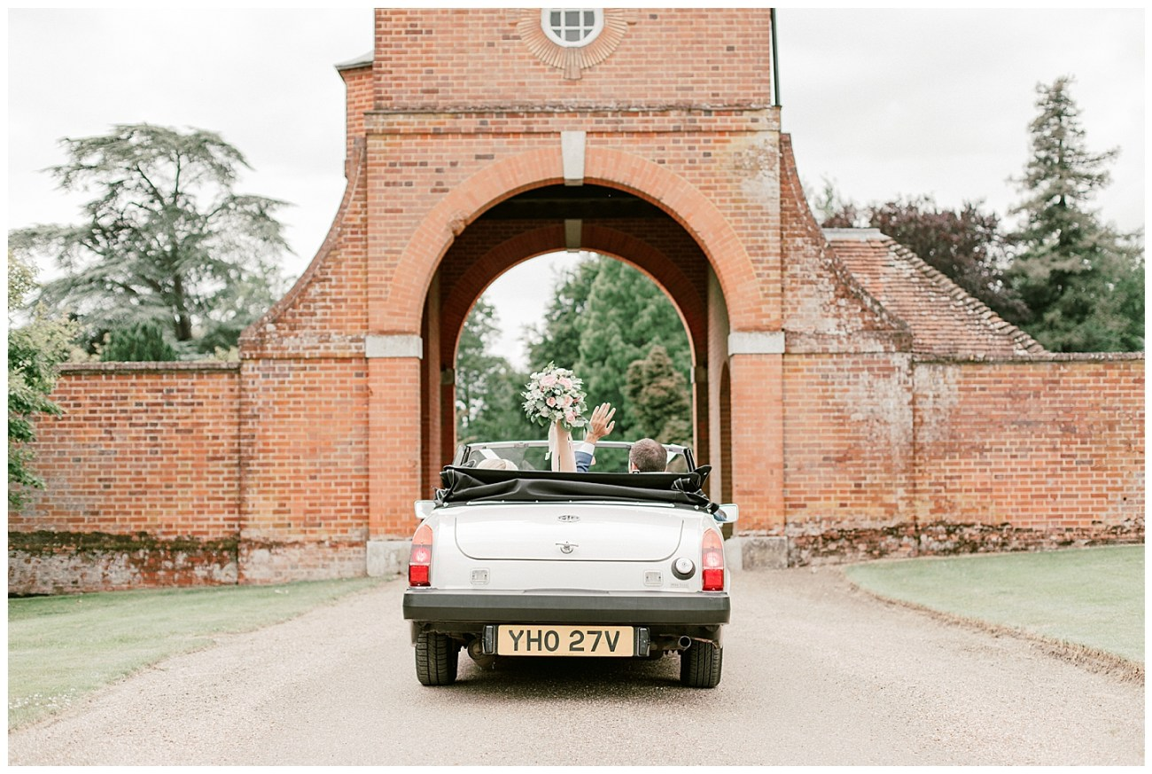 Vintage White Car - St Clere Estate - Kent England UK Garden Wedding