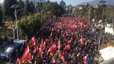 प्रतिपक्षी दल नेपाली कांग्रेसले आयोजना गरेको विरोध प्रदर्शन (फोटोमा)