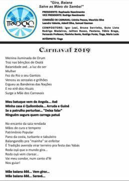 Letra do samba da Tradição 2019