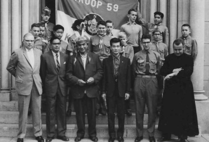 Joseph Hillaire with an American Boy Scout troup. Image courtesy of The Seattle Public Library.