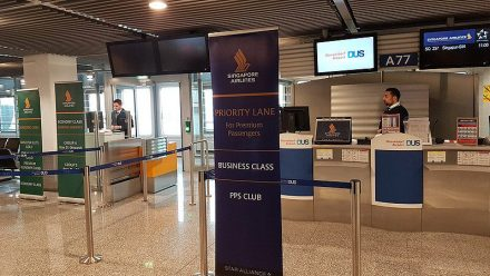 Boarding Gate of Singapore Airlines flight at Dusseldorf