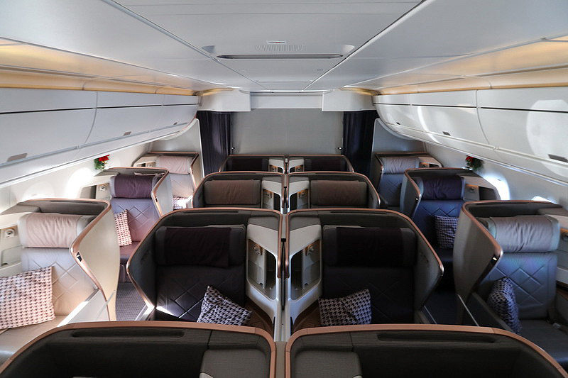 Singapore Airlines A350 Business Class cabin