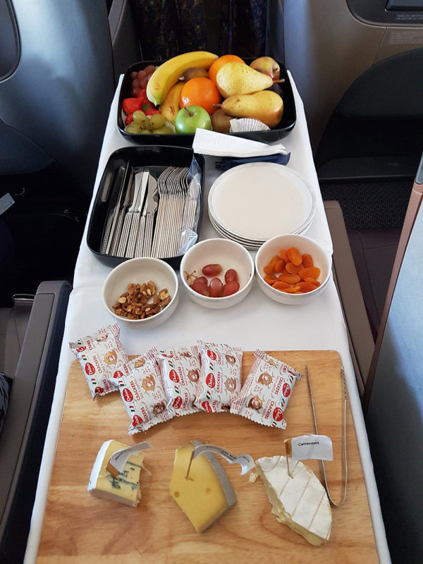 Singapore Airlines Business Class Fruit and Cheese cart