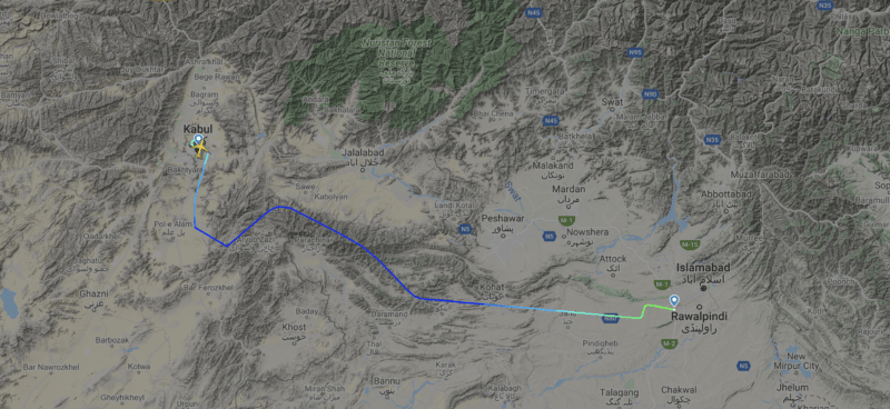 Route map of Flight PK6252 from Kabul to Islamabad