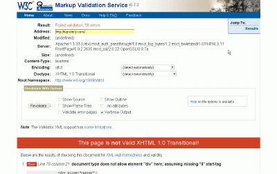 Example w3C validation results
