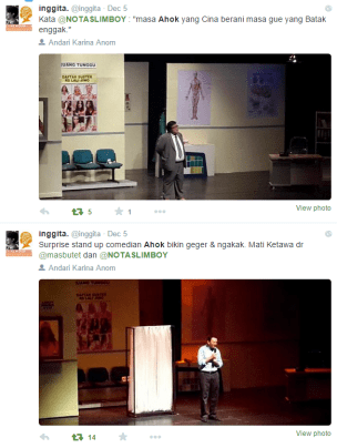 See the Timeline -- Ahok (Jakarta Governor) become my opening act
