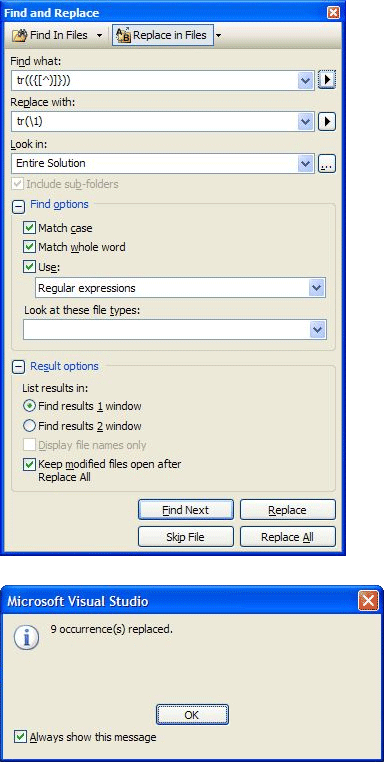 The Visual Studio 2005 Find/Replace dialog box