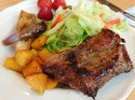 Asian Pork Ribs with Golden Beets, Chinese Eggplant and Salad