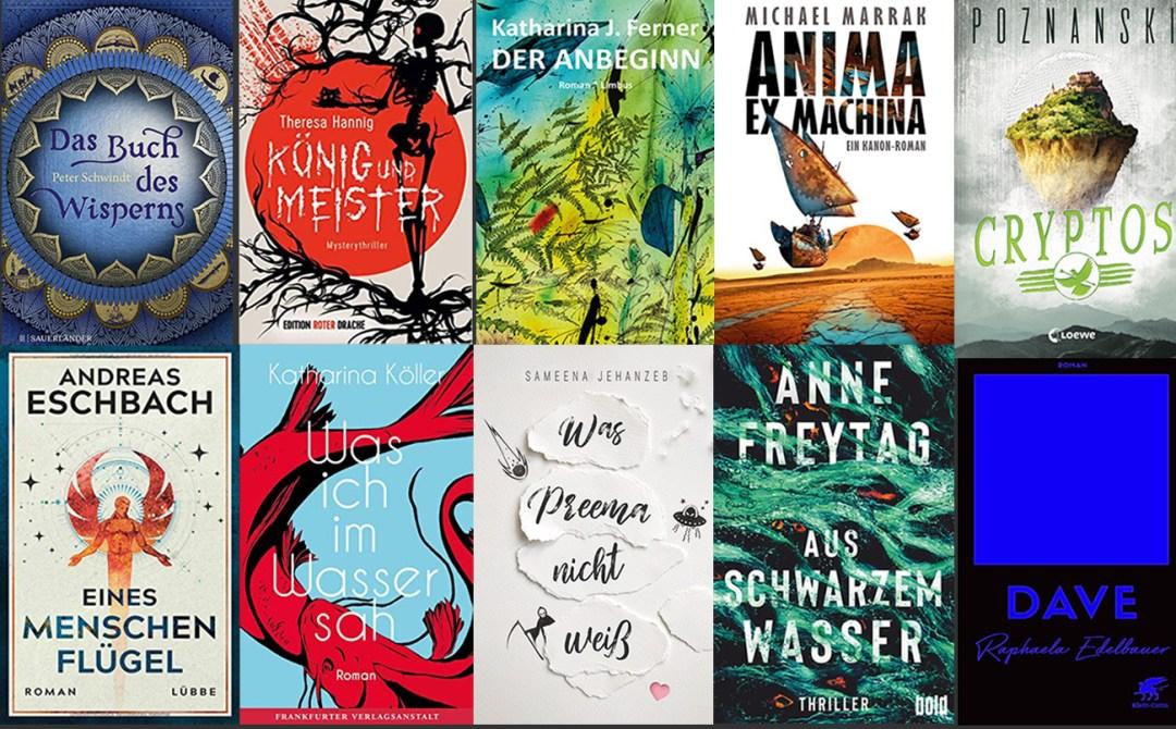 Coverabbildungen der zehn nominierten Bücher
