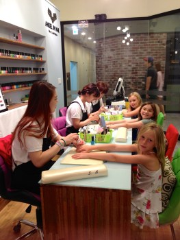 The girls could get their nails done three at a time.
