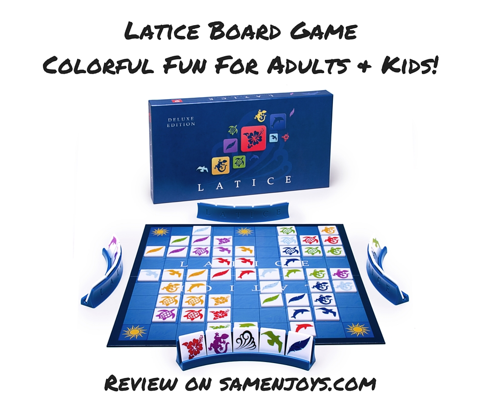 Latrice is a colorful and fun board game for 2-4 players, ages 6 and up. See samenjoys.com for a full review of Latice!