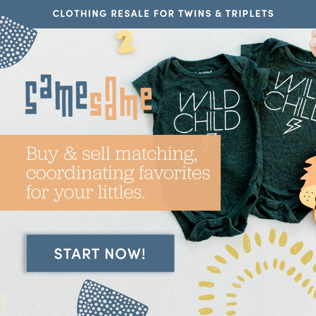 This is an advertisement for SameSame Kids, an online clothing resale store for twins and triplets