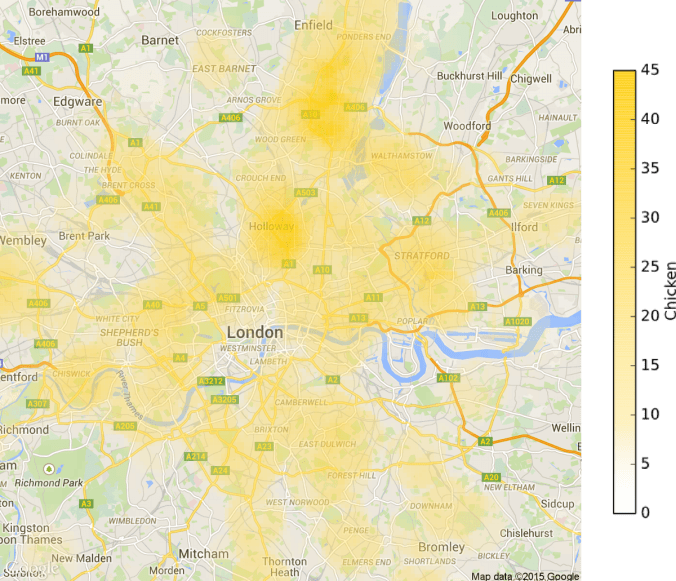 Fried Chicken Heat Map of London