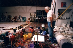 Francis working in Broadway studio, Santa Monica. (Photo by Jerry Sohn.)