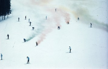 Francis's <em>Snow Painting</em> performance, Japan
