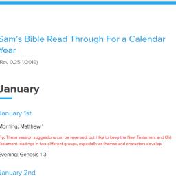 Sam's Bible Read Through Plan